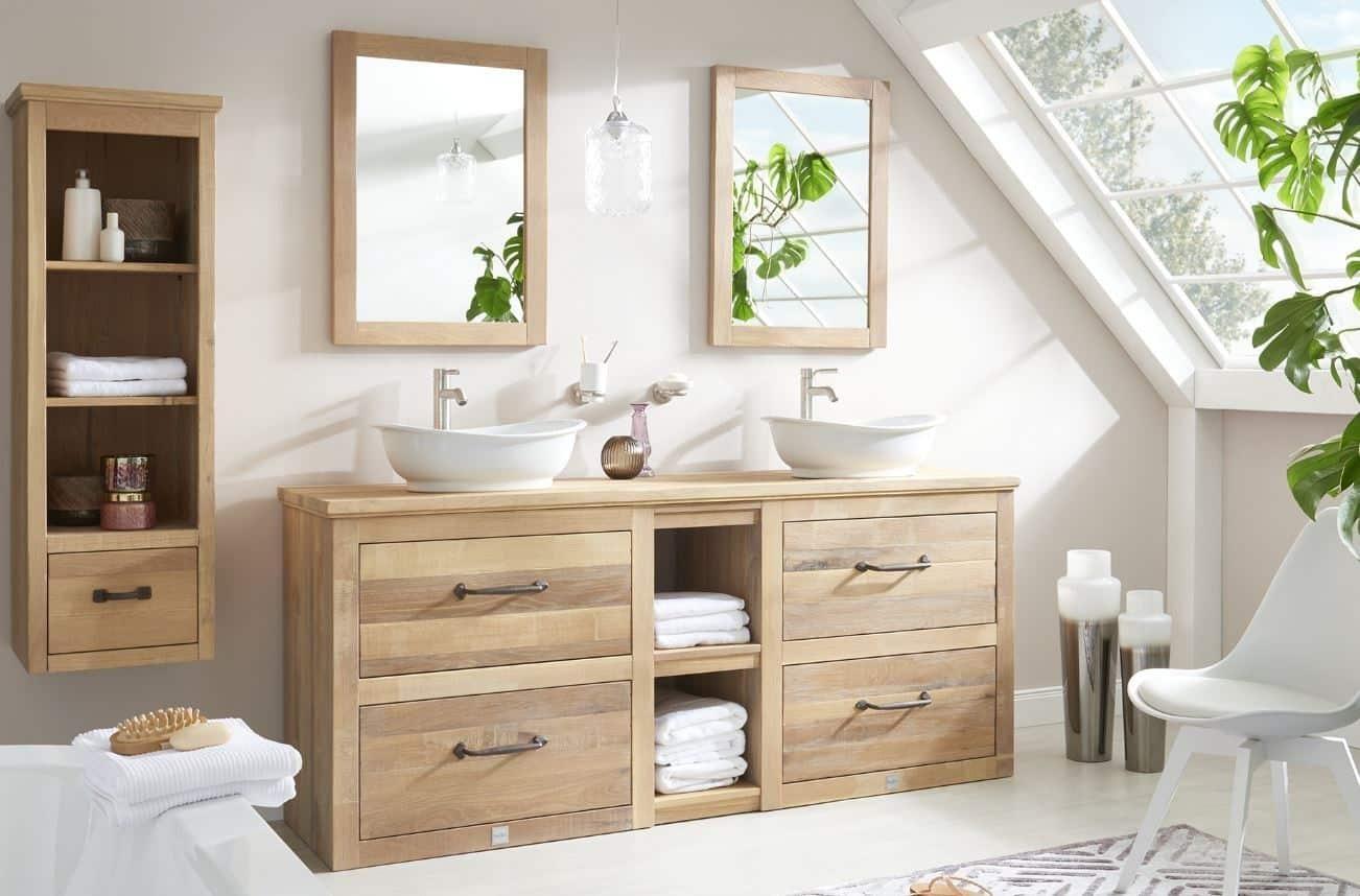 landelijk eiken badkamermeubel met dubbele waskom