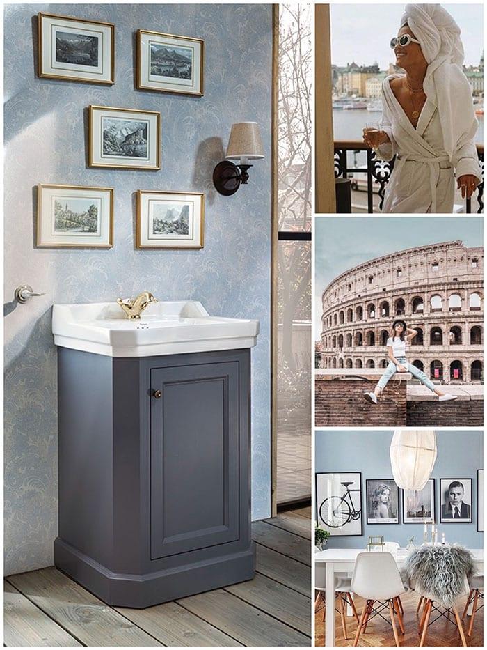 Mooi badkamermeubel met gouden kraan en keramische wastafel
