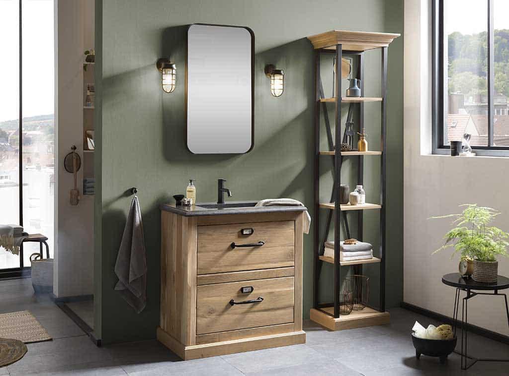 houten badkamermeubel met een zwarte kraan
