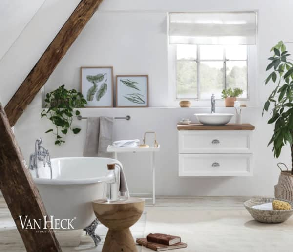 Dorset Badmeubel 65 in wit met massief eiken blad en klassieke waskom