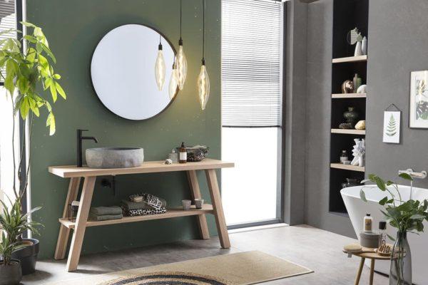 Eiken tafel voorzien van granieten waskom