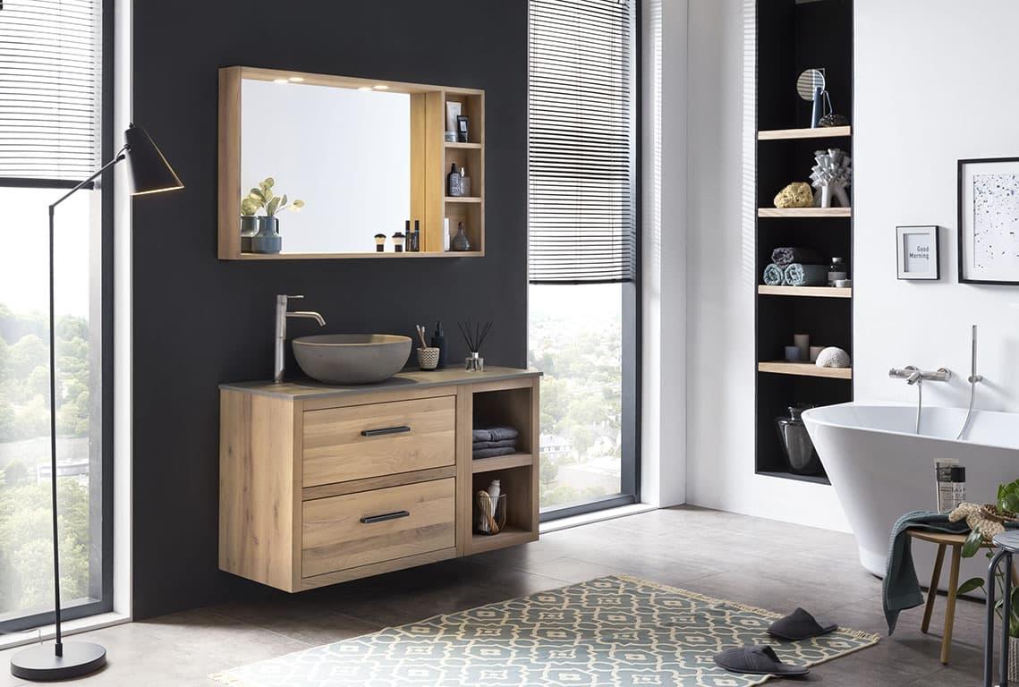 Eiken badkamermeubel met bijpassende spiegel