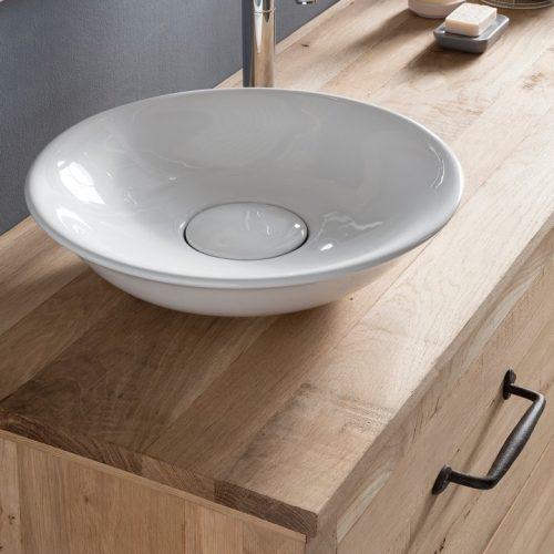 Badkamermeubel hout 130 met waskommen
