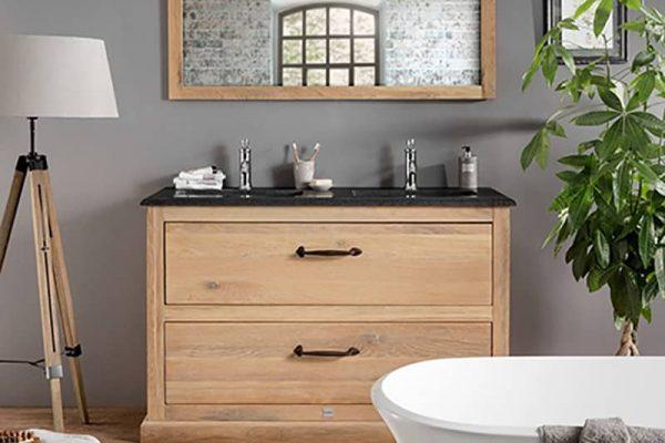 Lausanne Badkamermeubel 130 uit massief frans eiken met een granieten wastafelblad en twee keramische onderbouw wastafels
