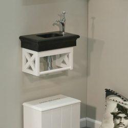 mooi toiletmeubel met granieten wastafel en bijpassende kraan