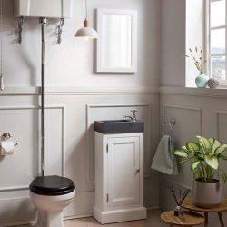 Traditional toiletmeubel in wit met granieten fontein