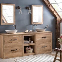 wastafelmeubel 200 in eiken met eiken wastafelblad en bijpassende spiegels