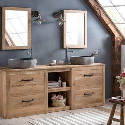 badkamermeubel staand in massief eiken met mooie waskommen en bijpassende spiegels