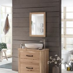 eiken badkamermeubel met waskom en bijpassende spiegel