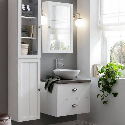 badkamermeubel set bestaande uit een badmeubel, kolomkast en bijpassende spiegelkast