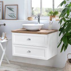 hangend badmeubel wit met eiken wastafelblad en keramische waskom