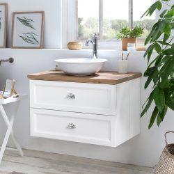 mooi wit badkamermeubel hangend met een eiken wastafelblad en een keramische waskom