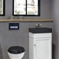 wit toiletmeubel met granieten wastafel zwart met bijpassende kraan