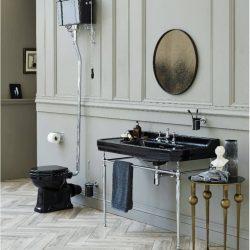 mooie klassieke wastafel in het zwart met zwart toilet in een klassieke badkamer