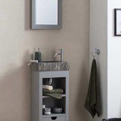 Staand fonteinmeubel in het grijs met bijpassende spiegel en gefrijnde fontein