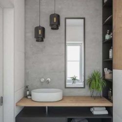 mooie industriele badkamer met zwarte spiegel