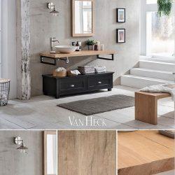 industrieel badkamermeubel met eiken wastafelblad en ijzeren onderstel
