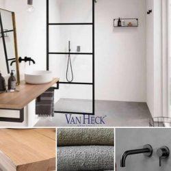 industrieel badkamermeubel met zwarte kraan en zwarte douche