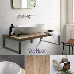 eiken plank op ijzeren onderstel in de industriële badkamer