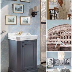 nostalgische badkamer in blauw met wastafel en een gouden kraan
