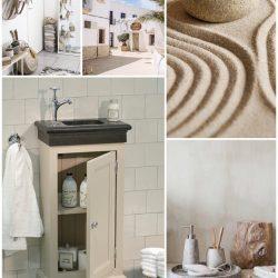 nostalgisch fonteinmeubel met granieten wastafel en fonteinkraan collage